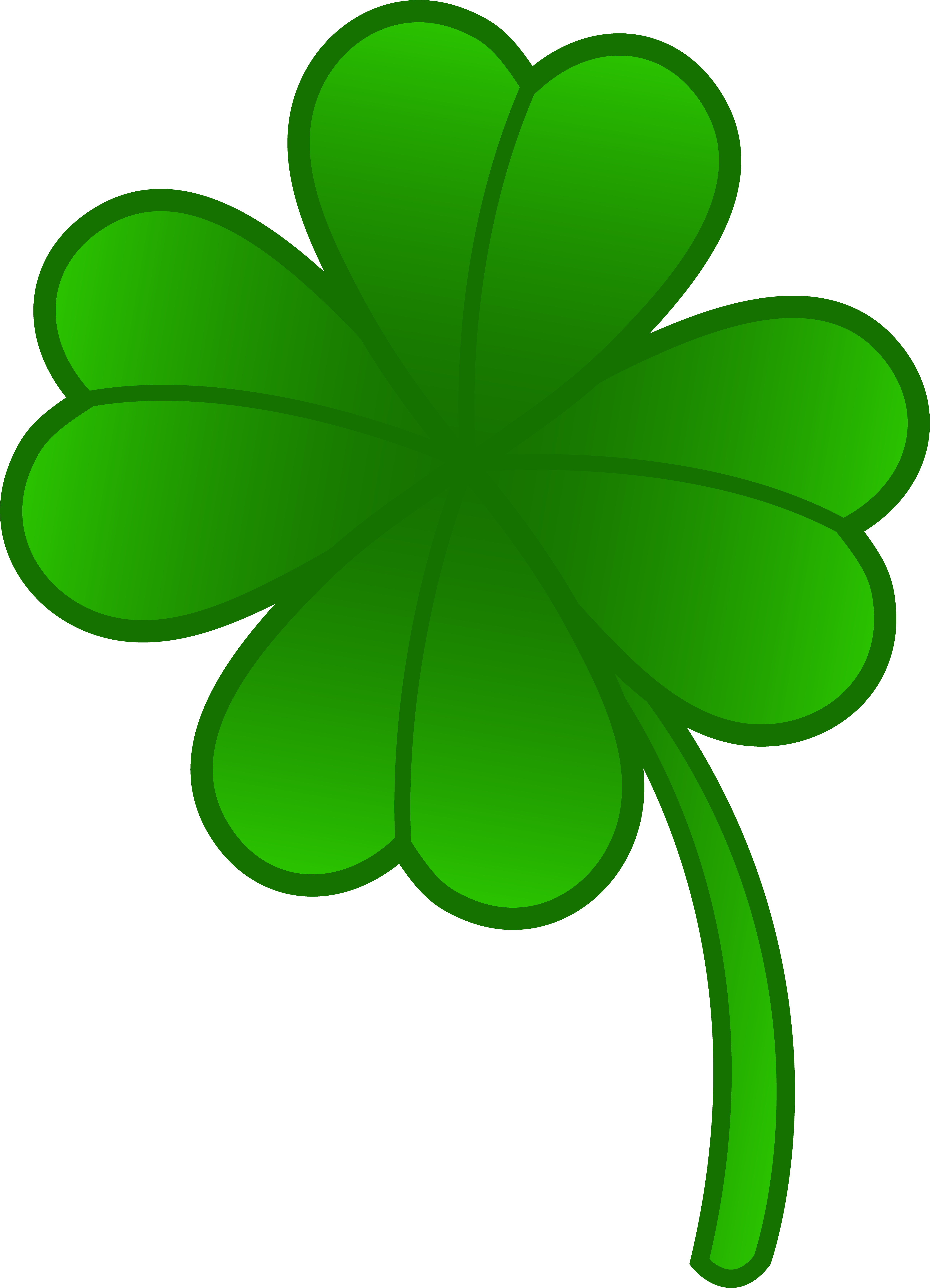 Green Four Leaf Clover - Free Clip Art