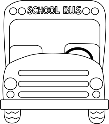 School Bus Front Black and White Clip Art - School Bus Front Black