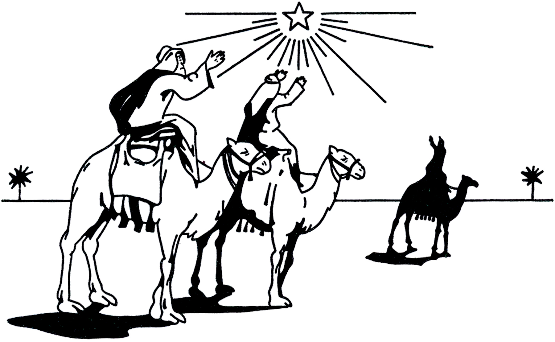 Wise men clipart black and white