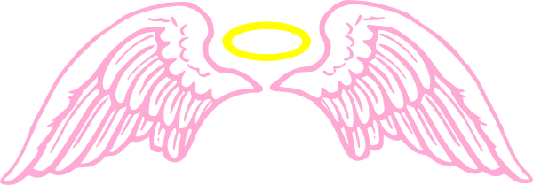 Pink Angel Wings With Halo Clip Art at Clker